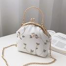 復古蕾絲口金包布藝手工立體刺繡花朵手提包配旗袍包包女士小包包 童趣屋 免運