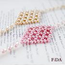 原創水晶元素珍珠 菱形幾何編織手鍊    - FiDA