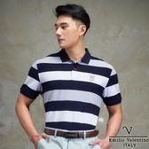 Emilio Valentino美式經典條紋POLO衫-藍白