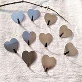 韓版INS簡約愛心桃心銀色不銹鋼掛鉤免釘無痕粘鉤chic房間裝飾鉤