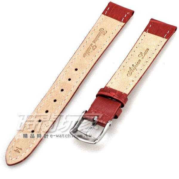 14mm錶帶 真皮錶帶 深紅色 RE紅竹14