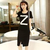 洋裝 韓版中長款短袖黑色T恤裙大碼字母連身裙