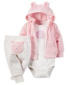 【美國Carter's】套裝3件組-可愛小熊連帽外套+包屁衣+ 小熊長褲 126G280