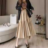 雪紡半身裙春新款裙子女2020流行韓版高腰顯瘦中長款不規則百褶裙 KV7059 【野之旅】
