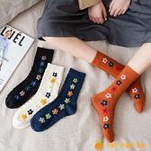 襪子女中筒襪純棉秋冬長筒襪復古堆堆襪百搭日系【小橘子】
