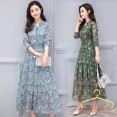 降價兩天 2020秋裝新款韓版洋裝 印花長袖洋裝 中長款雪紡碎花連身裙