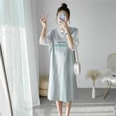 孕婦連身裙夏裝時尚套裝寬鬆大碼純棉t恤短袖洋氣哺乳衣辣媽長裙 貝芙莉
