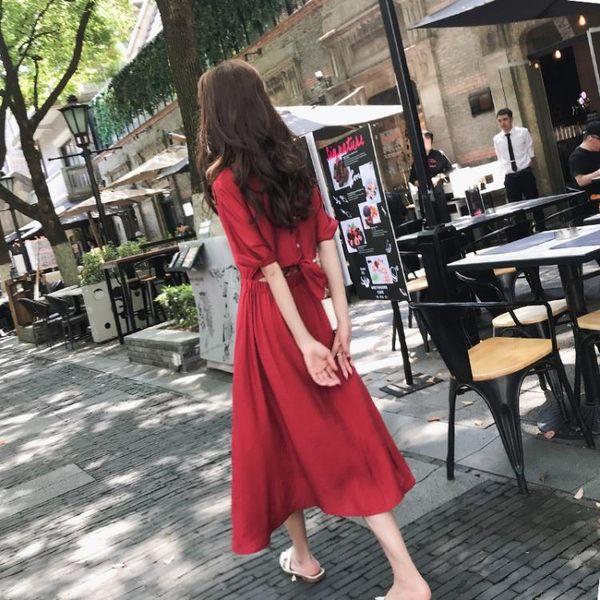 棉麻洋裝連身裙女夏酒紅色長裙冷淡風原宿裙子