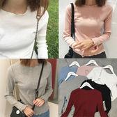 現貨-T恤-打底百搭純色羅紋長袖上衣 Kiwi Shop奇異果0817【SOF7739】