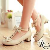 韓系時尚蝴蝶結造型扣環圓頭娃娃低跟包鞋/35-39碼/3色 (RX0090-08) iRurus 路絲時尚