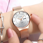 手錶女學生韓版簡約潮流鋼帶錶女士防水石英女錶 萬客居