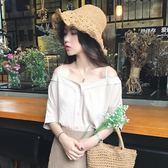 春夏女裝韓版寬鬆V領吊帶衫露肩一字領短袖襯衫學生打底襯衣上衣 小巨蛋之家