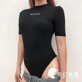連體T恤-歐美小圓領短袖緊身ins超火同款百搭顯瘦顯胸港味連體衣女夏-奇幻樂園