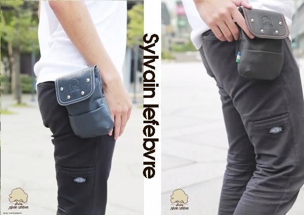 【Sylvain Lefebvre希梵】自信漫遊系列-雅痞鉚釘設計真質感皮革 腰包 男包