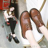 新款小皮鞋女英倫風加絨平底厚底單鞋百搭休閒學生女鞋 「潔思米」