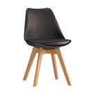 【森可家居】迪古黑色餐椅 7ZX883-6 實木 木紋質感  北歐風
