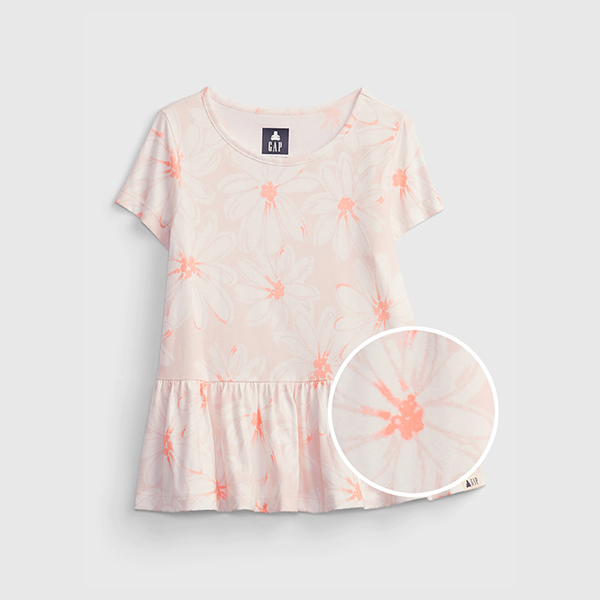 Gap女幼童 布萊納系列 可愛印花短袖上衣 689392-粉色雛菊印花