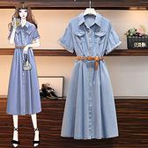 大碼短袖洋裝 牛仔連身裙大碼女裝收腰洋氣牛仔連身裙遮肉顯瘦裙3F088 胖妞身櫥