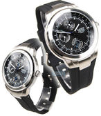 EDIFICE CASIO卡西歐 EF-305-1A 三眼錶 日期星期顯示 橡膠錶帶 黑面 39mm 男錶 EF-305-1AVUDF