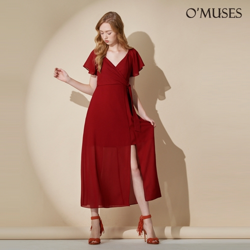 OMUSES V領雪紡開岔晚宴紅色長洋裝