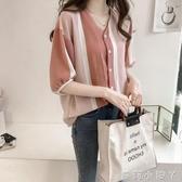 2020夏季女裝韓版新款原宿V領學生時尚襯衣大碼寬鬆拼色條紋襯衫 蘿莉小腳丫