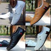 春季新款白色休閒鞋子男潮鞋夏季透氣單鞋豆豆鞋韓版潮流皮鞋 時尚潮流