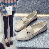 秋季低跟方頭單鞋女淺口平底英倫復古小皮鞋金屬扣韓版懶人樂福鞋   『歐韓流行館』
