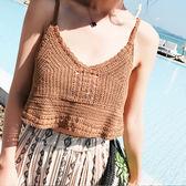 梨卡 -沙灘度假海邊細肩帶性感無袖露肩純色針織吊帶小可愛背心/6色B825