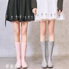 雨鞋 SLASHMODA英倫時尚膠鞋水鞋女可愛雨靴成人高筒水靴防滑女士雨鞋 夢藝家