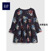 Gap女嬰兒 花卉圖案高腰長袖圓領洋裝 399497-海軍藍色