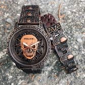 POLICE義大利國際品牌街頭龐克顝顱頭造型限量精裝腕錶15530SKQBZ-SET2原廠公司貨