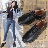 鞋子女秋冬季新款英倫風小皮鞋韓版百搭加絨粗跟黑色女鞋單鞋 安妮塔小舖
