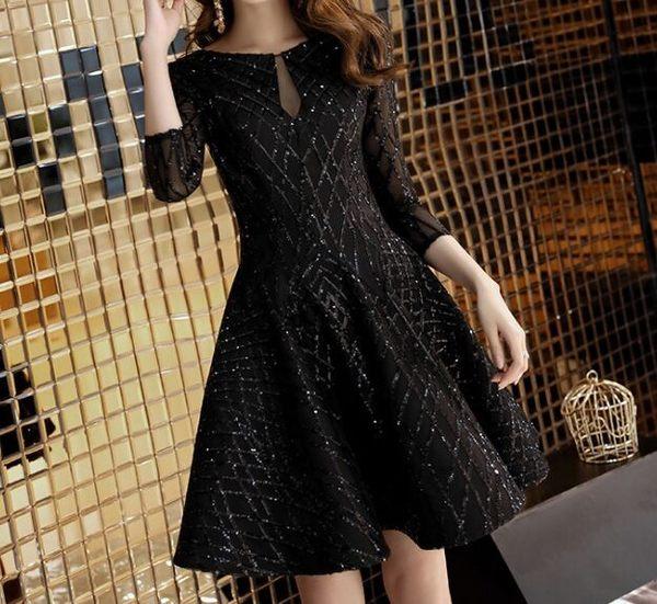 2019新款黑色高貴短款洋裝禮服(六碼可選)