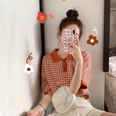 POLO衫 短袖t恤女2020年夏季新款女韓版修身網紅針織polo衫短款上衣ins潮 歐歐