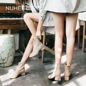 加絨短靴女冬季新款馬丁靴百搭網紅靴中跟小跟粗跟瘦瘦靴