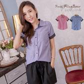 質感襯衫--學院實搭風點點滾邊袖細直條口袋短袖襯衫(紅.藍XL-5L)-H167眼圈熊中大尺碼