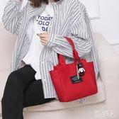 女2019新款韓版時尚小號水桶包媽媽包買菜手拎包帆布袋 aj7935『紅袖伊人』