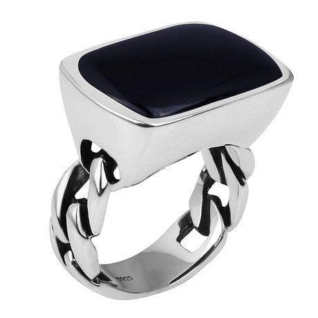複古泰銀飾品霸氣個性黑瑪瑙銀戒指禮物送男生日