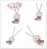 ♥小花花日本精品♥ Hello Kitty 施華洛世奇SWAROVSKI 項鍊 飾品 情人節禮 櫻桃67859702