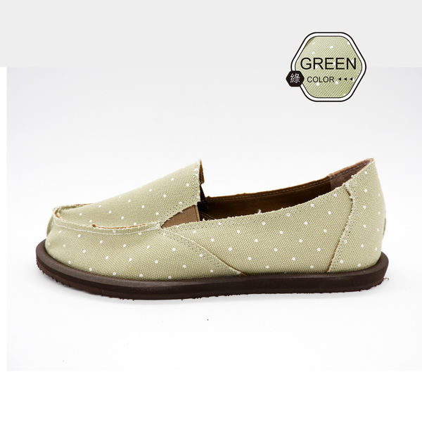 [ALMANDO-SHOES] 綠精靈點點帆布鞋/ 超輕量鞋/女休閒鞋