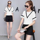 FINDSENSE G5 韓國時尚 名媛 氣質 時尚 套裝 兩件套 荷葉邊 T恤 短褲 套裝