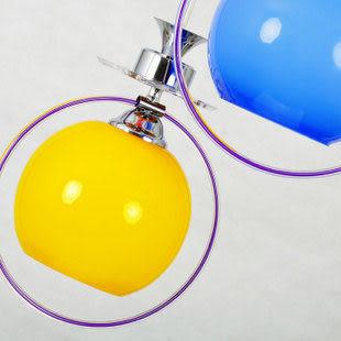 現代簡約玻璃三色吊燈