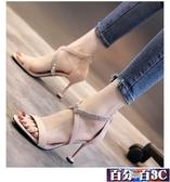 現貨羅馬高跟涼鞋女交叉綁帶2020夏季新款歐美性感黑色絨面細跟高跟鞋夜店 百分百9-23