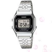 CASIO 復古方形銀色鋼帶數位電子錶 28mm 學生錶 LA680WA-1D 公司貨   名人鐘錶