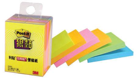 [奇奇文具] 【3M Post-it 狠黏 便條紙】 3M 2056S 多色狠黏利貼便條紙/便利貼 (6本/盒)