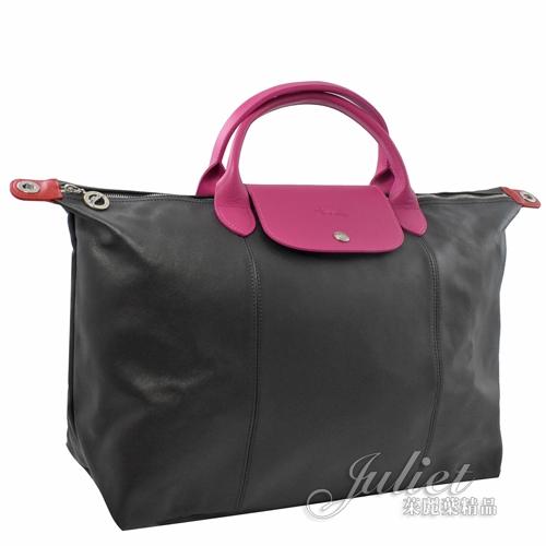 茱麗葉精品【全新現貨】Longchamp Le Pliage Cuir 小羊皮短把兩用包.黑桃 大 #1630