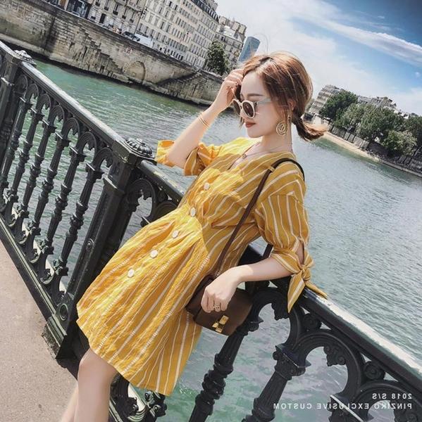 微胖大碼女裝夏條紋V領寬鬆減齡襯衫裙200斤胖mm遮肚子顯瘦連身裙
