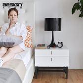 北歐風格簡約時尚現代創意白色烤漆床頭櫃雙斗櫃儲物櫃 igo  全館免運