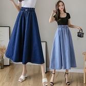 長裙 牛仔裙女2021新款牛仔半身長裙夏季中長款a型高腰a字款大擺裙