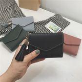 卡包   小零錢包女短款日韓百搭扣軟皮夾時尚流蘇迷你錢夾女卡包   瑪麗蘇